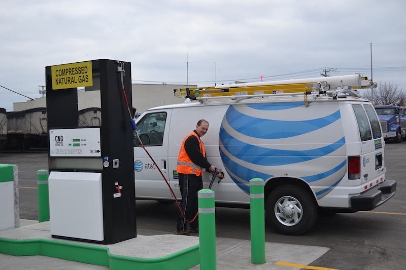 AT&T CNG service van refueling