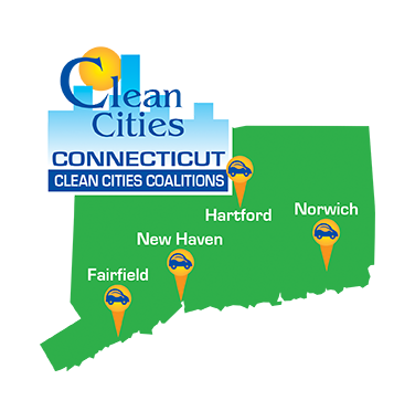Connecticut Clean Cities Coalitions logo - CT state outline with points at the four coalition locations: Fairfield, New Haven, Hartford, and Norwich.