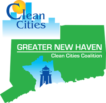 Greater New Haven Clean Cities Coalition logo - CT state outline with outline of New Haven county.