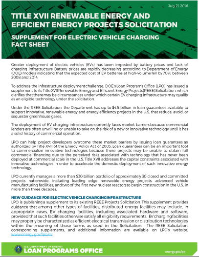 EV loan fact sheet