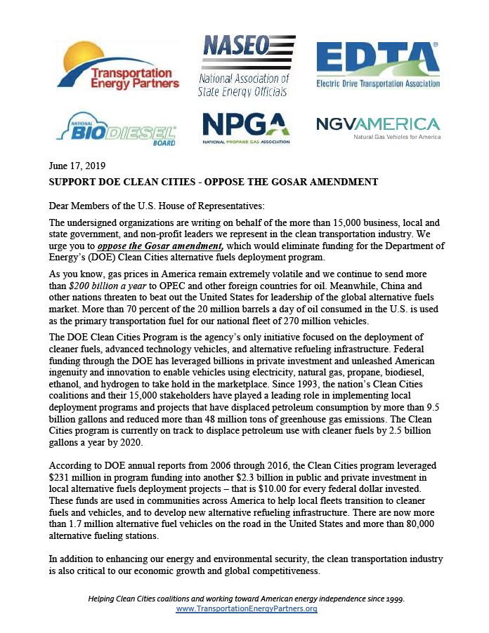 Out letter to the U.S. House of Representatives to support Clean Cities and oppose the Gosar amendment.